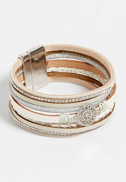 White Strands Scroll Magnetic Bracelet
