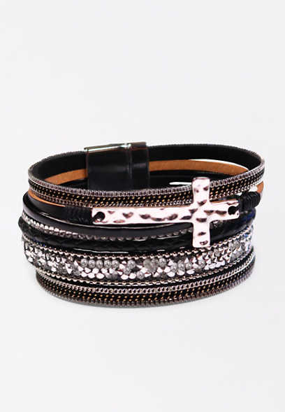 Black Multi Row Cross Magnetic Bracelet