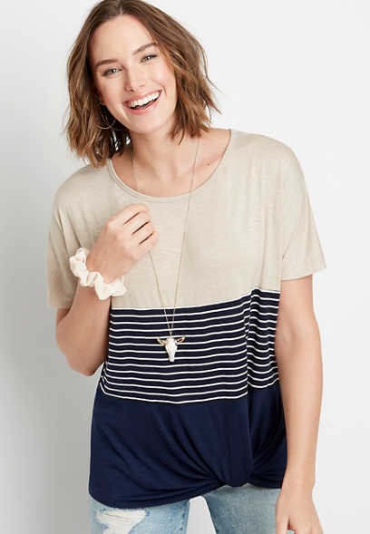 24/7 Stripe Colorblock Knot Hem Tee