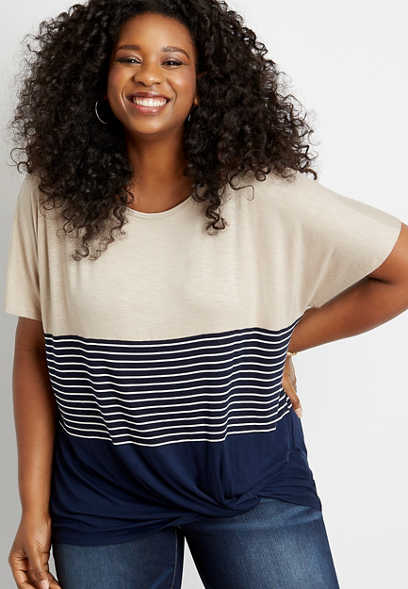 Plus Size 24/7 Stripe Colorblock Knot Hem Tee