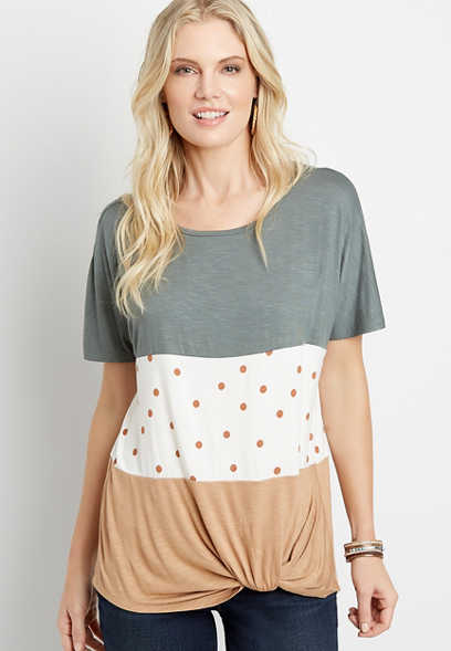 24/7 Polka Dot Colorblock Knot Hem Tee