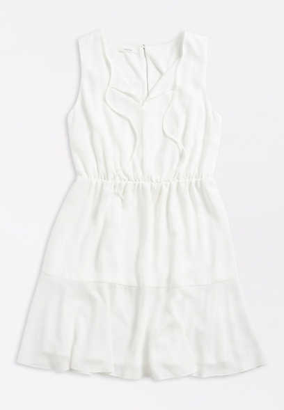 White Front Tie Mini Dress