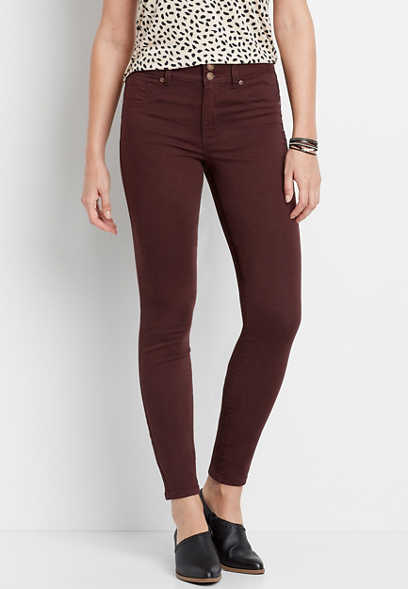 High Rise Burgundy Double Button Jegging Made With REPREVE®
