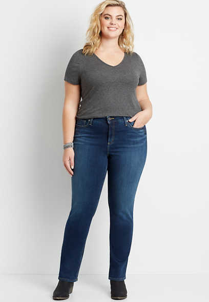 Plus Size Silver Jeans Co.® Avery High Rise Dark Wash Straight Leg Jean