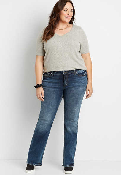 Plus Size Silver Jeans Co.® Elyse Dark Wash Slim Boot Jean