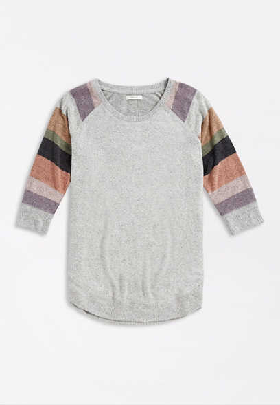 Gray Striped Sleeve Round Hem Pullover