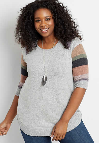 Plus Size Gray Striped Sleeve Round Hem Pullover