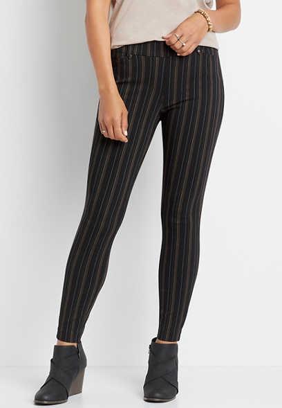 Maurices Black Stripe Bengaline Skinny Ankle Pant