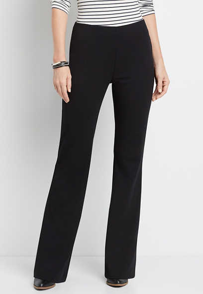 High Rise Black Stretch Crepe Flare Pant