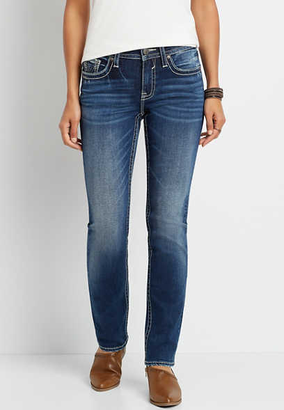 Vigoss® Medium Wash Thick Stitch Straight Leg Jean