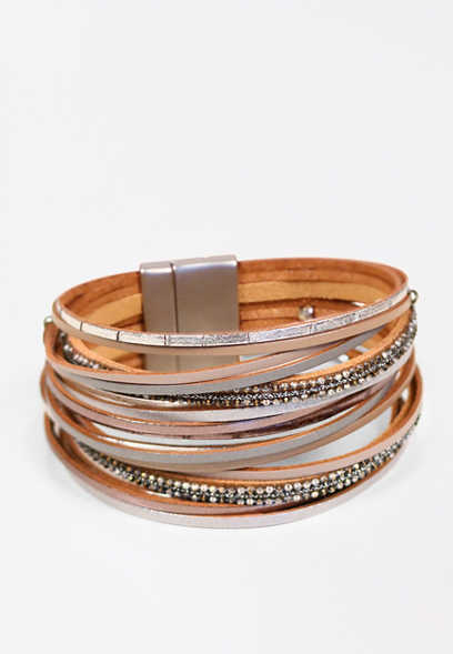 Taupe Multi Thin Row Magnetic Bracelet