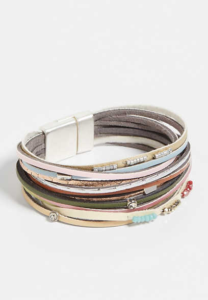 Multi Color Thin Row Magnetic Bracelet