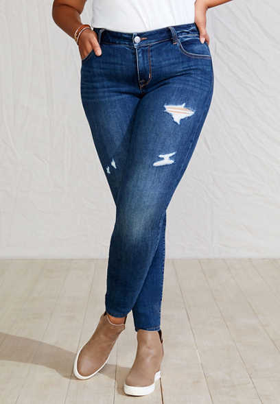 Plus Size DenimFlex™ Super Dark Wash Destructed Jegging