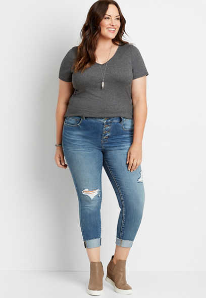 Plus Size Everflex™ High Rise Medium Button Fly Super Skinny Ankle Jean