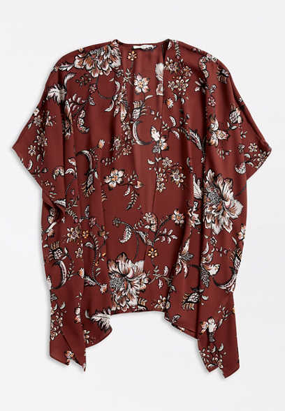 Floral Print Open Front Ruana