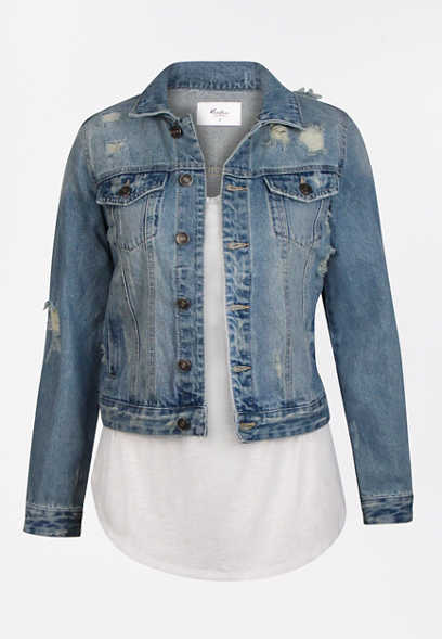 KanCan™ Medium Wash Destructed Denim Jacket