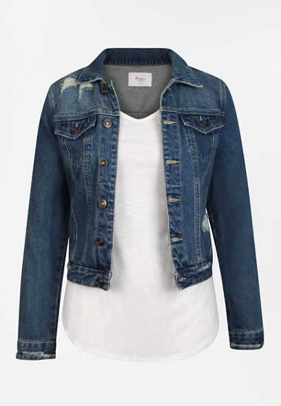 KanCan™ Dark Wash Destructed Denim Jacket