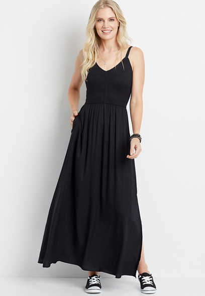 Black Smocked Top Maxi Dress
