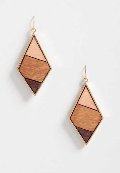 Wooden Diamond Shape Drop Earrings