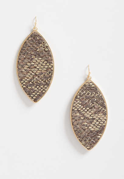 Pink Snakeskin Gold Frame Drop Earrings