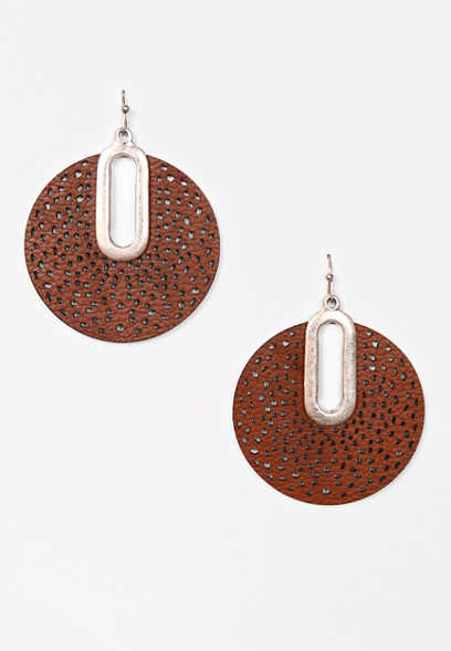 Dark Brown Faux Leather Drop Earrings