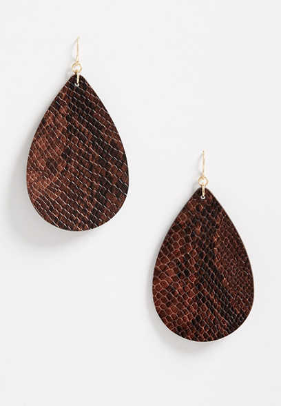 Brown Snakeskin Teardrop Earrings