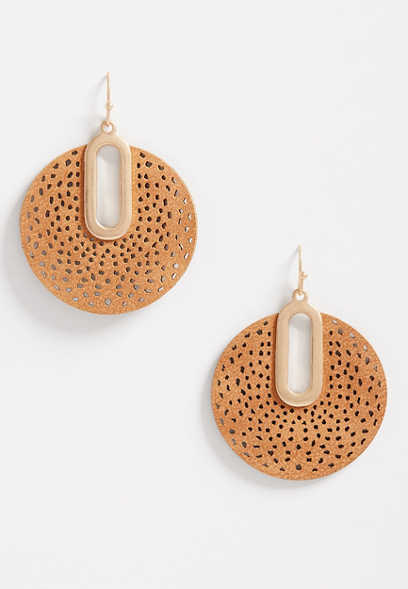 Mustard Faux Leather Cut Out Drop Earrings