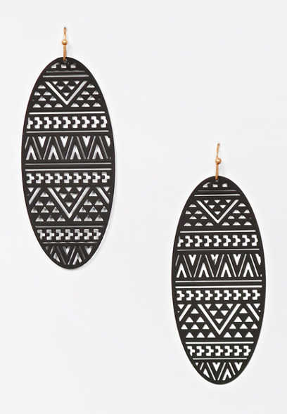 Oblong Metal Cut Out Drop Earrings