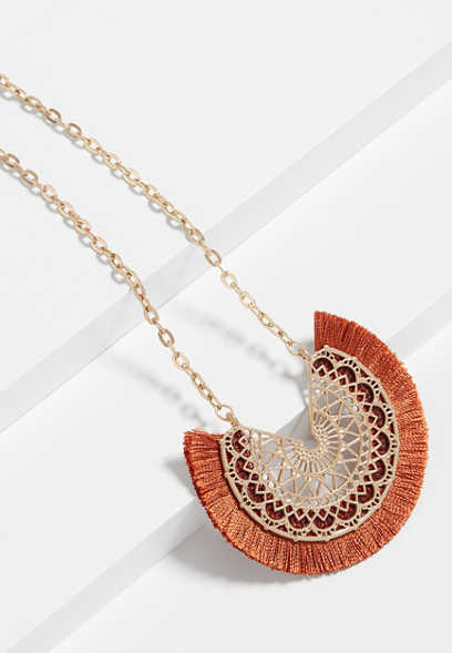 Rust Fringe Fan Pendant Necklace