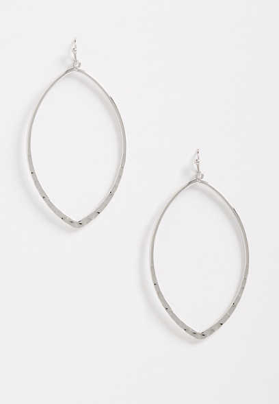Silver Diamond Shape Hammered Hoop Earrings