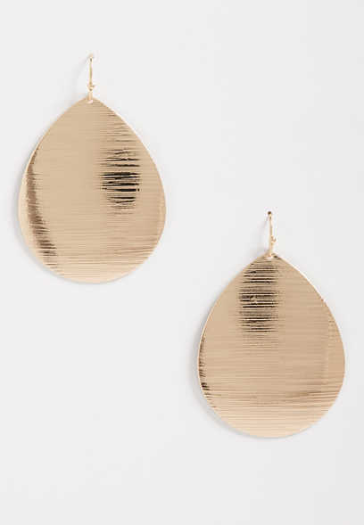 Etched Gold Teardrop Earrings