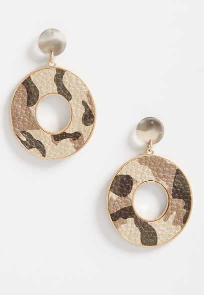Camo Drop Hoop Earrings
