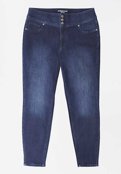 Plus Size DenimFlex™ High Rise Dark Wash Triple Button Jegging