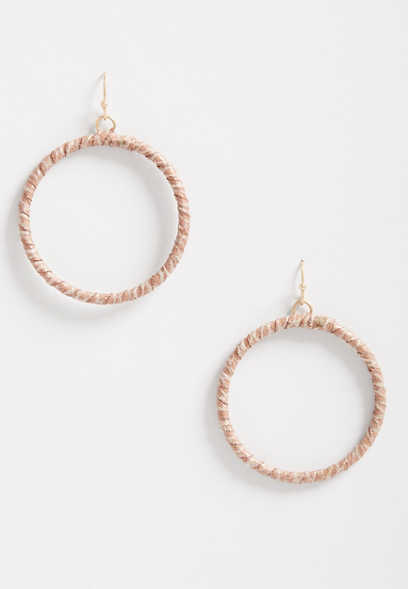 Taupe Faux Leather Wrap Hoop Earrings