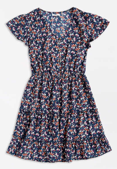 Blue Ditsy Floral Button Front Mini Dress