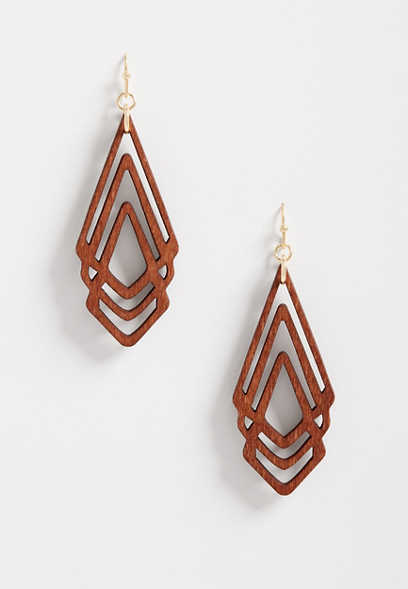 Triange Wood Overlay Drop Earrings