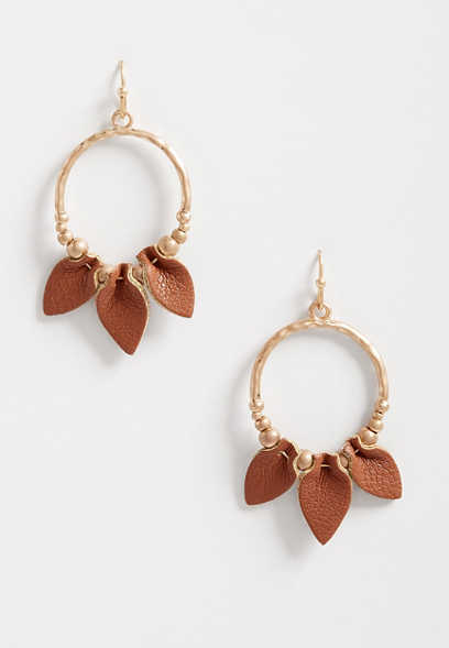 Folded Brown Faux Leather Hoop Earrings