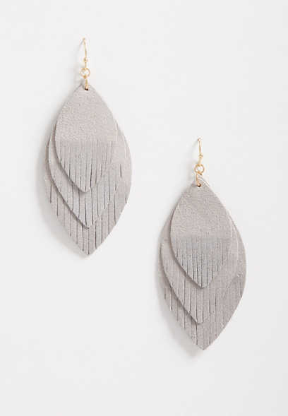 Triple Gray Dripped Feather Drop Earrings
