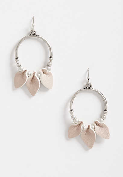 Folded Taupe Faux Leather Hoop Earrings