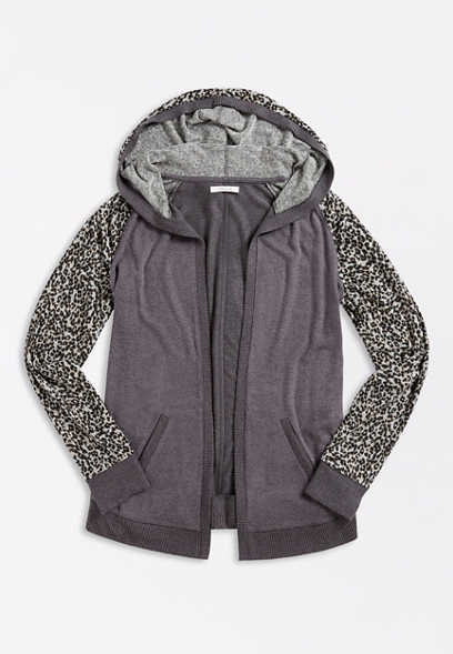 Leopard Open Front Hooded Cardigan