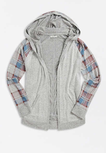 Plus Size Plaid Open Front Hooded Cardigan