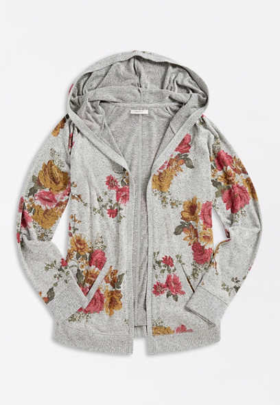 Gray Floral Open Front Hooded Cardigan