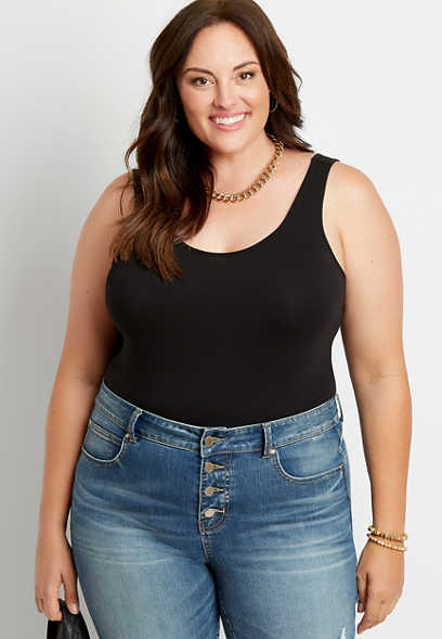 Plus Size Solid Basic Tuck In Tank Top