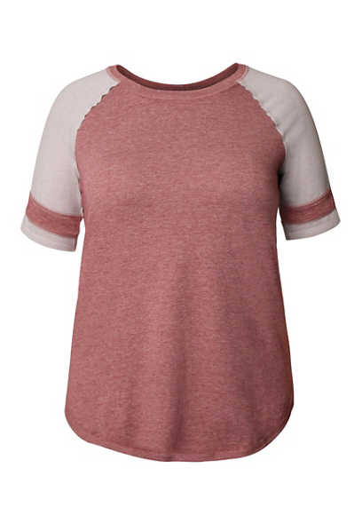 Plus Size 24/7 Solid Colorblock Football Tee
