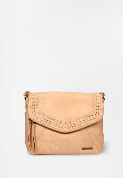 Braided Zipper Flap Crossbody Bag