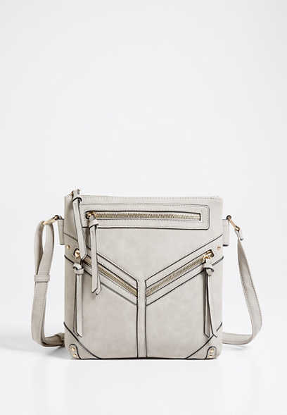 Light Gray Multi Zipper Crossbody Bag