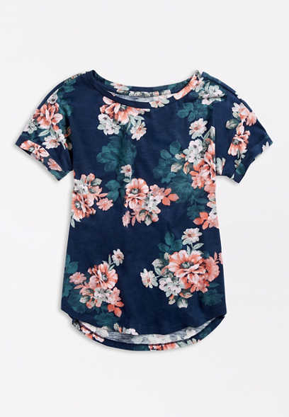 Plus Size 24/7 Blue Floral Drop Shoulder Tee