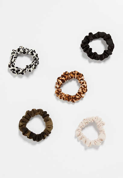 5 Pack Mini Mixed Scrunchie Set