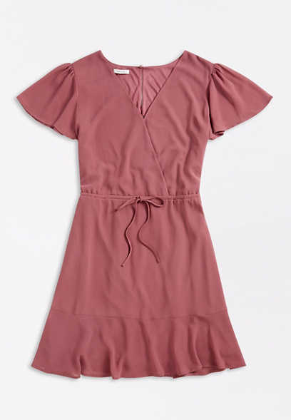 Solid Flutter Sleeve Tie Waist Mini Dress