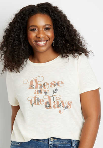 Plus Size Floral These Are The Days Graphic Tee